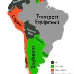 Nel Centro e Sud America, le attrezzature per i trasporti dominano come la merce più esportata, principalmente grazie al Brasile, il produttore numero uno al mondo in questo settore. Gli stati confinanti producono principalmente petrolio, soia e rame.