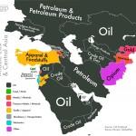 I paesi del Medio Oriente e dell'Asia centrale sono invece i principali esportatori di petrolio e dei suoi derivati.