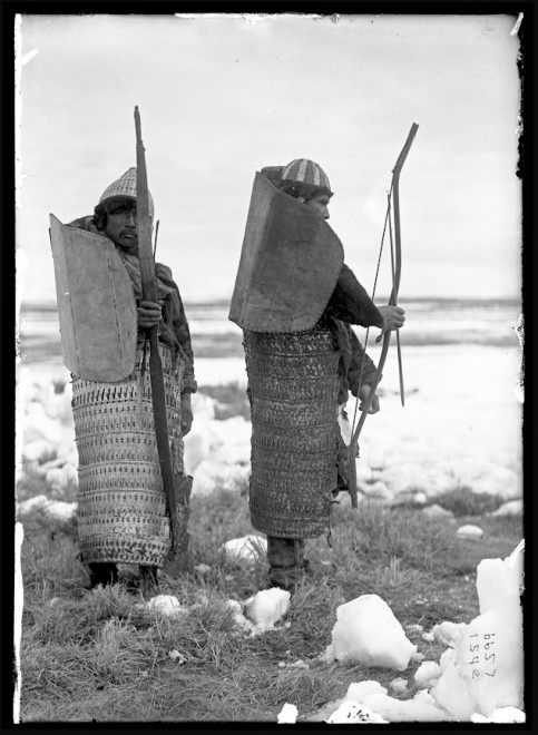 Koryak men with armor, bows and arrows, Siberia, 1901