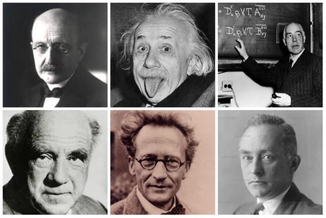 Max Planck , Einstein , Niels Bohr , Werner Heisenberg , Erwin Schrödinger , Max Born