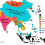 Per quel che riguarda l'Asia, le merci più esportate sono prodotti manufatti, tra cui componenti elettroniche (di cellulari, televisioni ecc…), abbigliamento e prodotti in legno. Anche se si contano alcuni paesi con un vantaggio comparato nell'estrazione di rame e pietre preziose, le risorse naturali difficilmente appaiono sulla mappa.