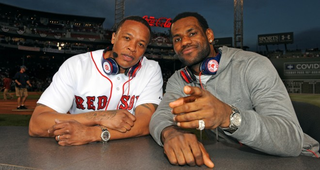 Lebron James and Dr. Dre on the field at Fenway Park