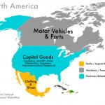 Beni come le apparecchiature elettroniche, componenti meccaniche per motori a scoppio, e abbigliamento dominano la produzione dei paesi Nordamericani.