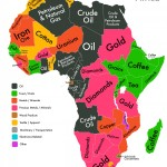 Mentre, in Africa, come ci potevamo aspettare, le merci che costituiscono il vantaggio comparato della maggior parte dei paesi sono quelle minerarie.
