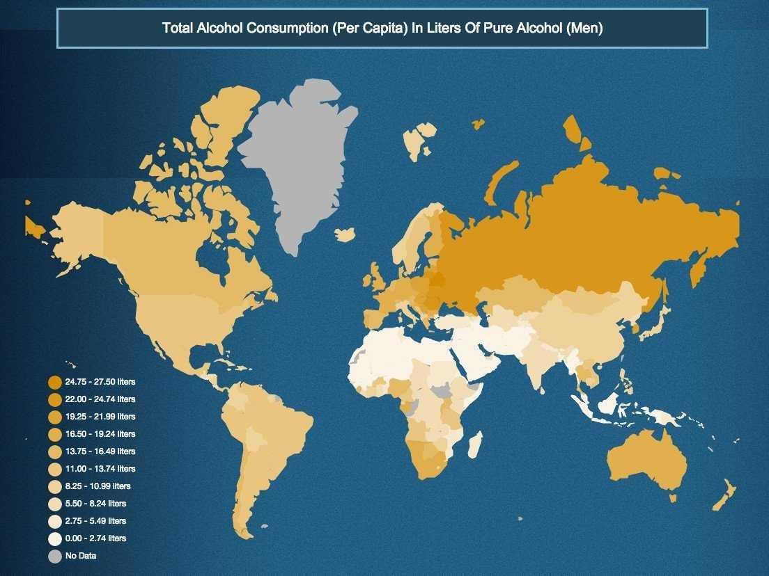paesi bevono più alcol