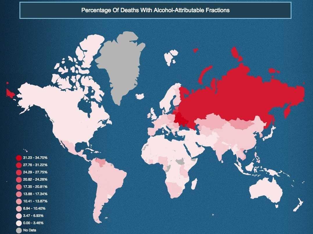 paesi con più malattie legate all'alcol