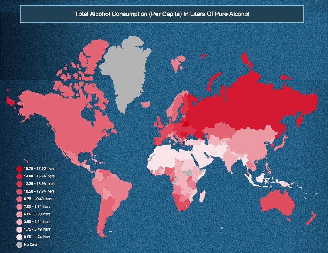 paesi consumo alcol