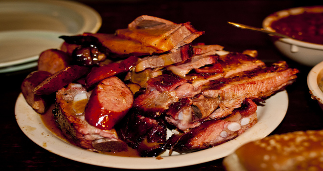 Family-style Meat Plate at the Salt Lick BBQ
