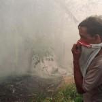 Un uomo indonesiano si copre il viso per proteggersi dal fumo in un bosco di circa 40 chilometri nell'entroterra di Balikpapan a East Kalimantan il 3 aprile 1998. Gli incendi continuano a divampare senza controllo per tutta la provincia di Kalimantan orientale , distruggendo migliaia di ettari di foresta.