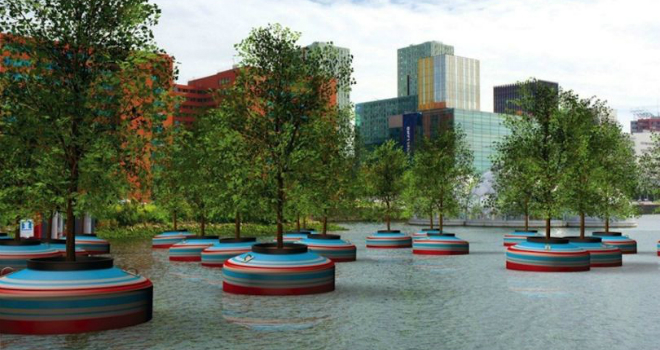 floating forest rotterdam verde olanda bici design green