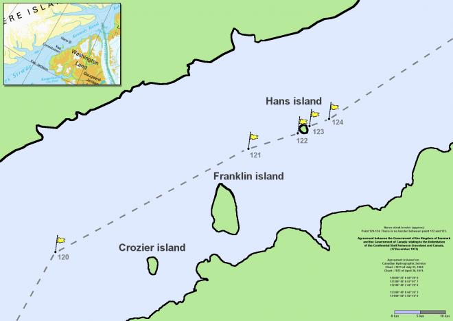 L'isola di Hans si trova al centro dello Stretto di Nares