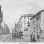 Corso Loreto (oggi corso Buenos Aires), 1890 circa.  Porta Venezia è alle spalle del fotografo.