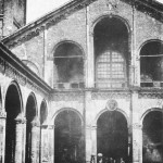 La foto più antica della basilica di Sant'Ambrogio e tra le più antiche di Milano. Risale al 1849.