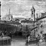 Il laghetto di Santo Stefano, 1840 circa. Da qui transitarono per oltre quattro secoli i materiali per il cantiere della Fabbrica del Duomo. Il laghetto fu interrato nel 1857, pare per motivi igienici in quanto vicinissimo all'ospedale Maggiore. Disegno di W. Leitch, incisione di T. Higham.
