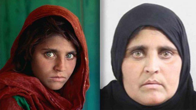 Sharbat Gula nello scatto di Steve McCurry, quando aveva 12 anni (sinistra), e nella foto del suo documento falso (destra).