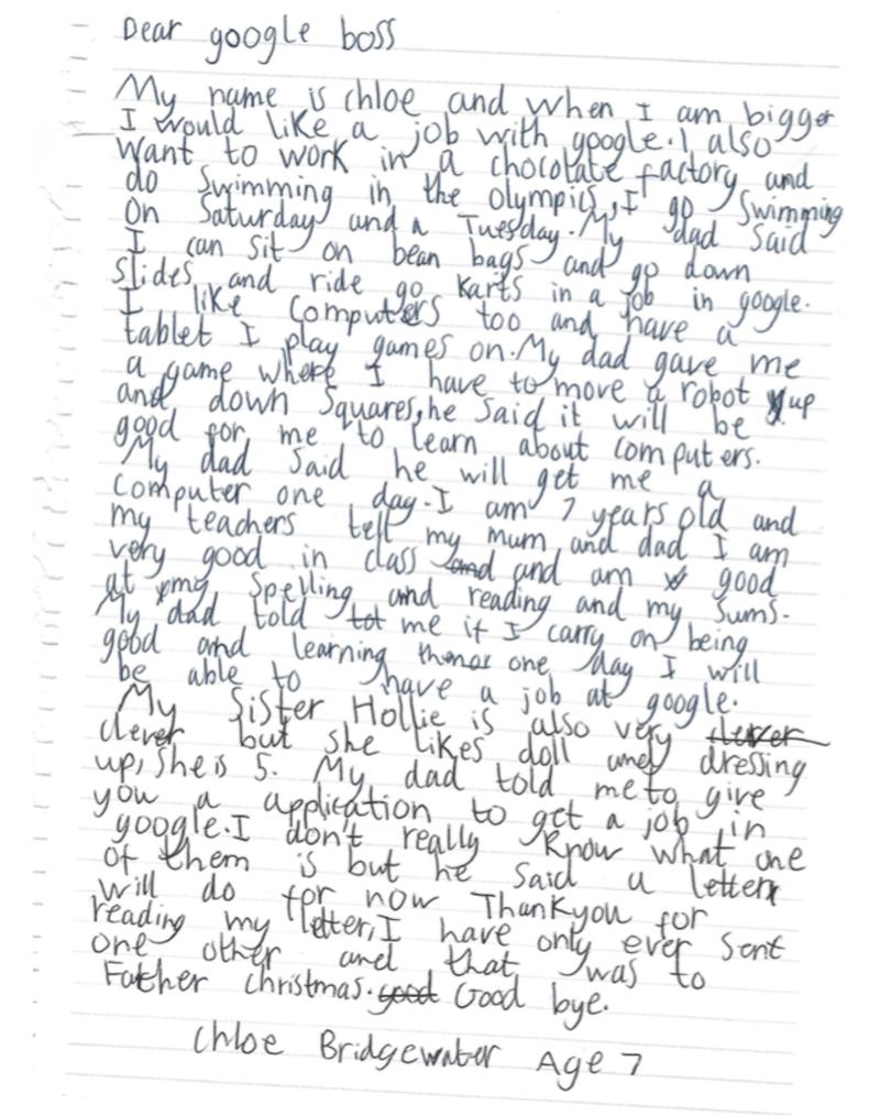 lettera bambina google