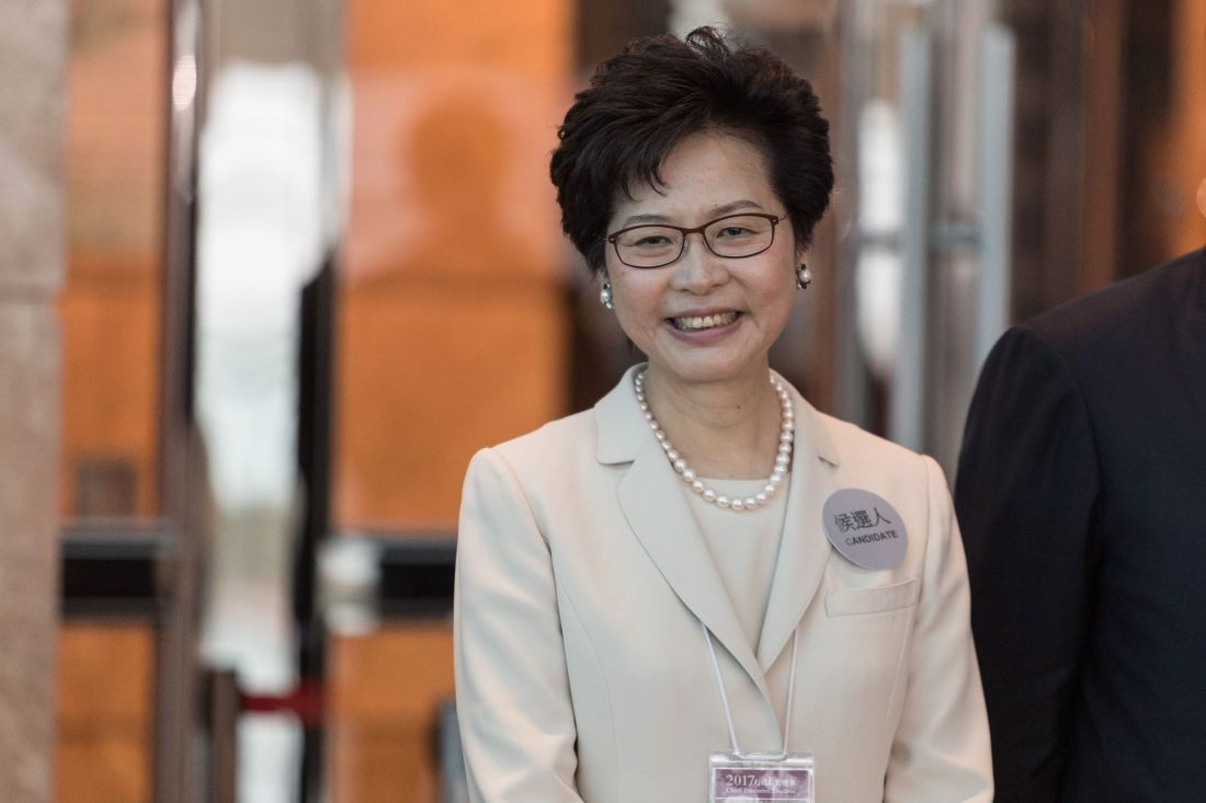 Hong Kong chief executive candidate Carrie Lam smiles during the Hong Kong chief executive election in Hong Kong on March 26, 2017. A mainly pro-China committee began voting for a new leader of Hong Kong on March 26 to take the helm of the deeply divided city, which is fearful Beijing is curtailing its freedoms. / AFP PHOTO / DALE DE LA REY        (Photo credit should read DALE DE LA REY/AFP/Getty Images)