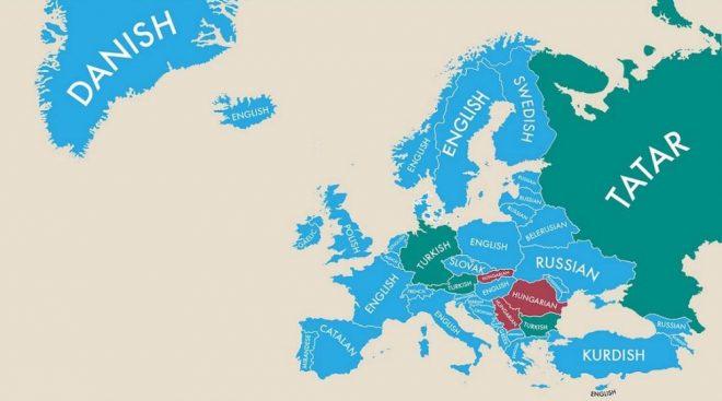 La situazione europea mostra che la seconda lingua più parlata in questo continente appartiene al ceppo indo-europeo.