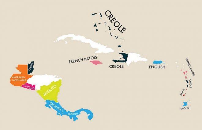 Nell'America centrale si nota che oltre alle influenze coloniali del passato che spiegano la diffusione dell'inglese, spagnolo e francese, la lingua creola è ancora molto parlata.